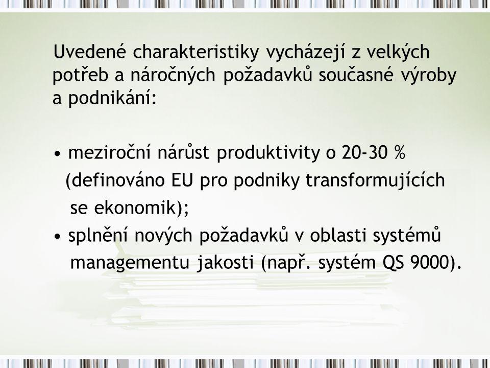 Uvedené charakteristiky vycházejí z velkých potřeb a náročných požadavků současné výroby a podnikání: meziroční nárůst produktivity o 20-30 % (definováno EU pro podniky transformujících se ekonomik); splnění nových požadavků v oblasti systémů managementu jakosti (např.
