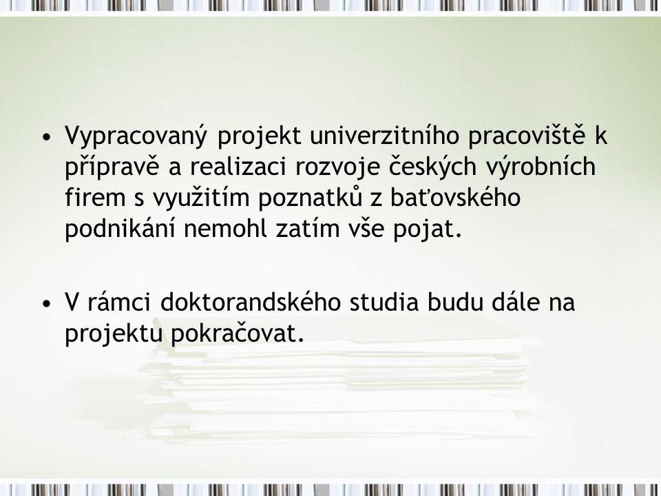 Vypracovaný projekt univerzitního pracoviště k přípravě a realizaci rozvoje českých výrobních firem s využitím poznatků z baťovského podnikání nemohl zatím vše pojat.