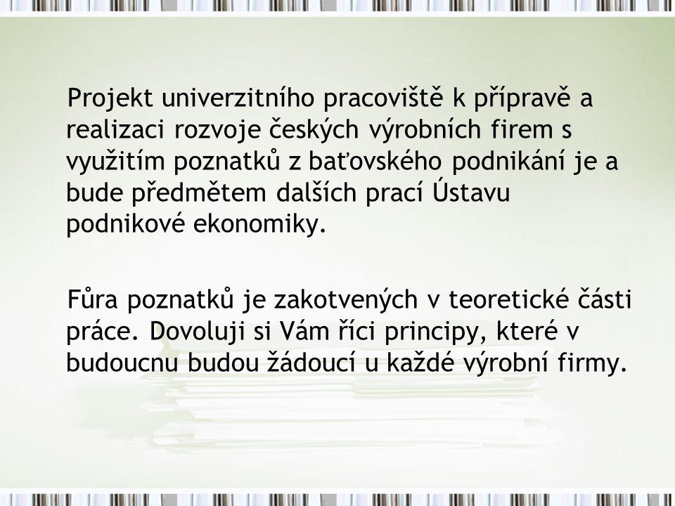Projekt univerzitního pracoviště k přípravě a realizaci rozvoje českých výrobních firem s využitím poznatků z baťovského podnikání je a bude předmětem dalších prací Ústavu podnikové ekonomiky.