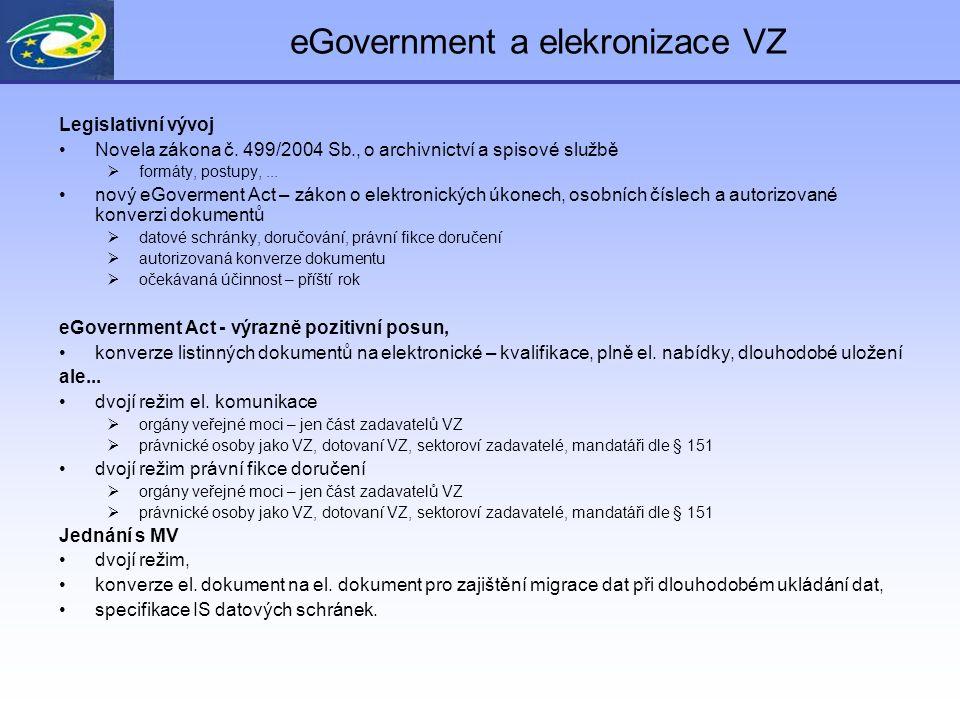 eGovernment a elekronizace VZ Legislativní vývoj Novela zákona č.