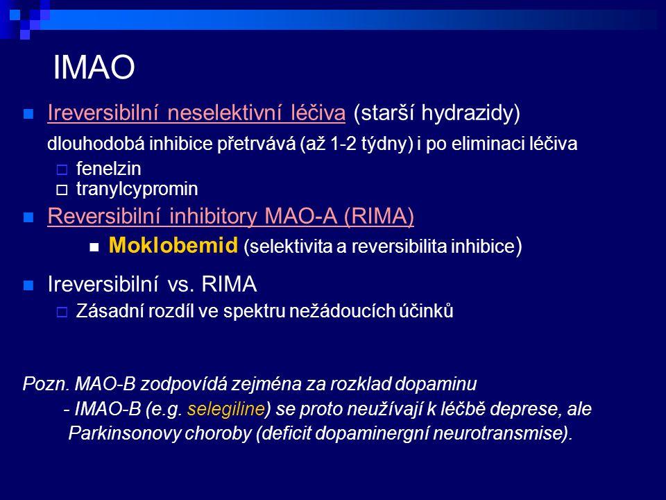 IMAO Ireversibilní neselektivní léčiva (starší hydrazidy) dlouhodobá inhibice přetrvává (až 1-2 týdny) i po eliminaci léčiva  fenelzin  tranylcypromin Reversibilní inhibitory MAO-A (RIMA) Moklobemid (selektivita a reversibilita inhibice ) Ireversibilní vs.