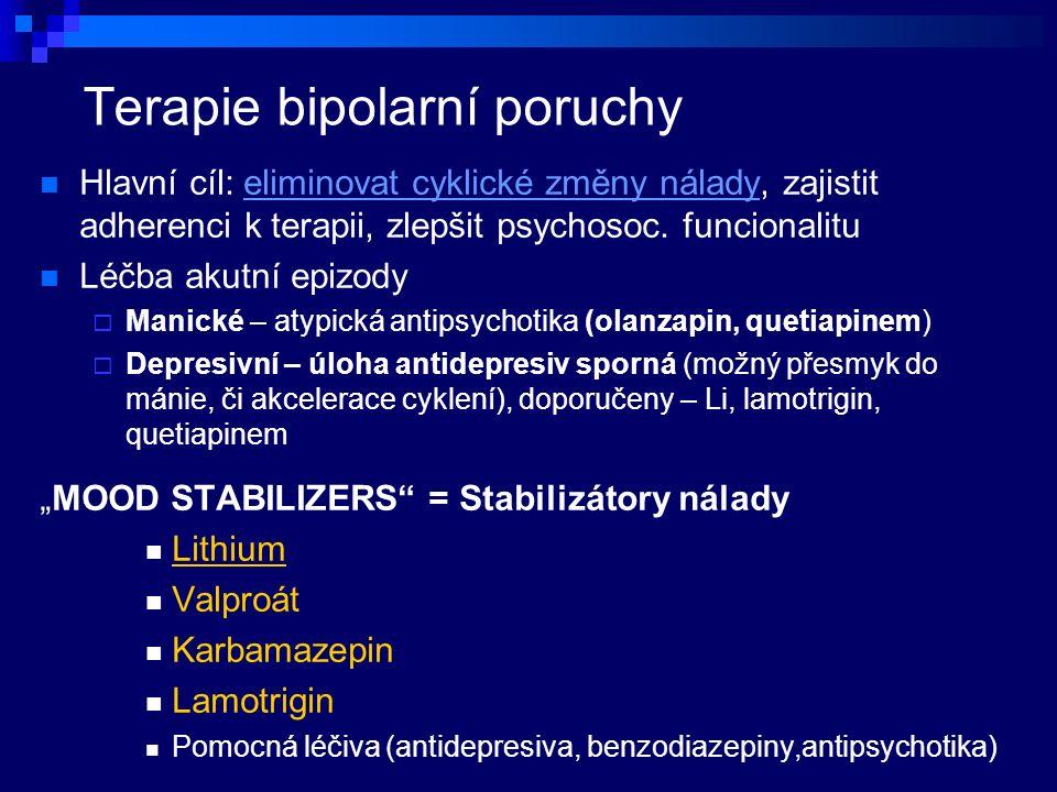 Terapie bipolarní poruchy Hlavní cíl: eliminovat cyklické změny nálady, zajistit adherenci k terapii, zlepšit psychosoc.