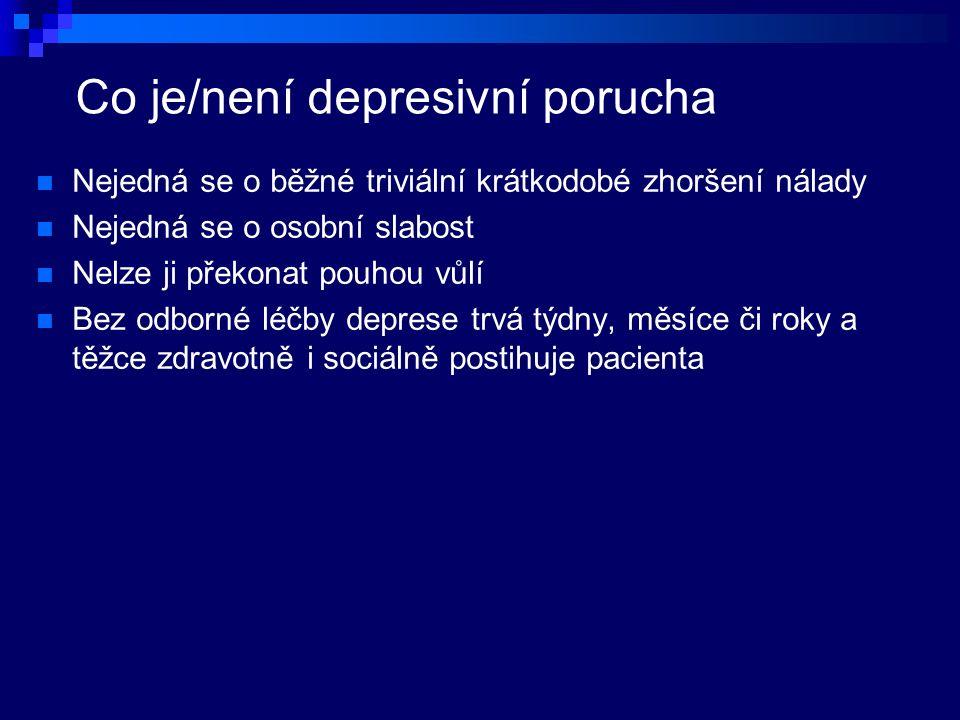 Co je/není depresivní porucha Nejedná se o běžné triviální krátkodobé zhoršení nálady Nejedná se o osobní slabost Nelze ji překonat pouhou vůlí Bez odborné léčby deprese trvá týdny, měsíce či roky a těžce zdravotně i sociálně postihuje pacienta