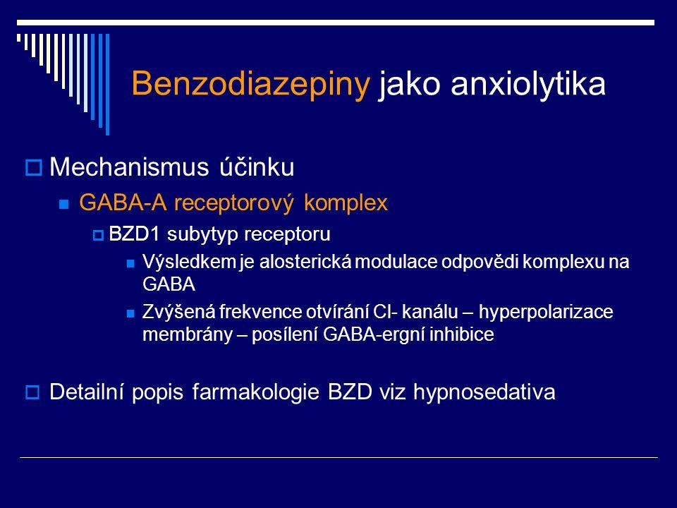 Benzodiazepiny jako anxiolytika  Mechanismus účinku GABA-A receptorový komplex  BZD1 subytyp receptoru Výsledkem je alosterická modulace odpovědi komplexu na GABA Zvýšená frekvence otvírání Cl- kanálu – hyperpolarizace membrány – posílení GABA-ergní inhibice  Detailní popis farmakologie BZD viz hypnosedativa