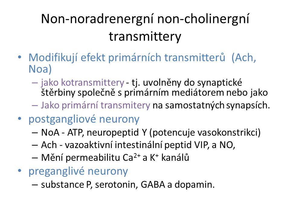 Non-noradrenergní non-cholinergní transmittery Modifikují efekt primárních transmitterů (Ach, Noa) – jako kotransmittery - tj. uvolněny do synaptické