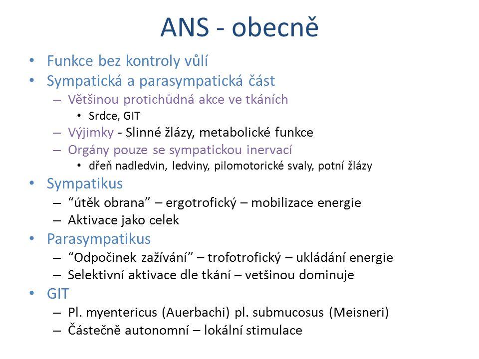 ANS - obecně Funkce bez kontroly vůlí Sympatická a parasympatická část – Většinou protichůdná akce ve tkáních Srdce, GIT – Výjimky - Slinné žlázy, met