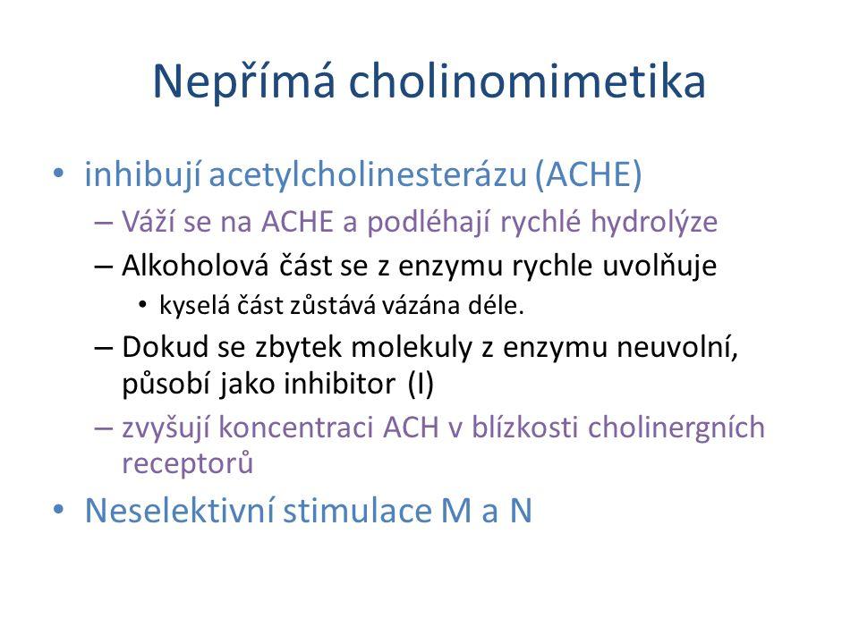 Nepřímá cholinomimetika inhibují acetylcholinesterázu (ACHE) – Váží se na ACHE a podléhají rychlé hydrolýze – Alkoholová část se z enzymu rychle uvolňuje kyselá část zůstává vázána déle.