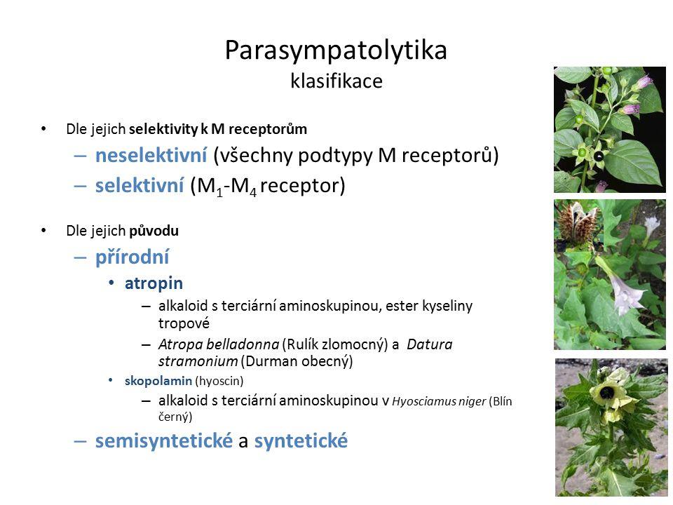 Dle jejich selektivity k M receptorům – neselektivní (všechny podtypy M receptorů) – selektivní (M 1 -M 4 receptor) Dle jejich původu – přírodní atropin – alkaloid s terciární aminoskupinou, ester kyseliny tropové – Atropa belladonna (Rulík zlomocný) a Datura stramonium (Durman obecný) skopolamin (hyoscin) – alkaloid s terciární aminoskupinou v Hyosciamus niger (Blín černý) – semisyntetické a syntetické Parasympatolytika klasifikace