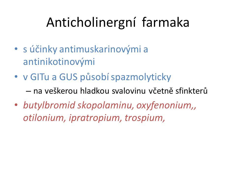 Anticholinergní farmaka s účinky antimuskarinovými a antinikotinovými v GITu a GUS působí spazmolyticky – na veškerou hladkou svalovinu včetně sfinkte
