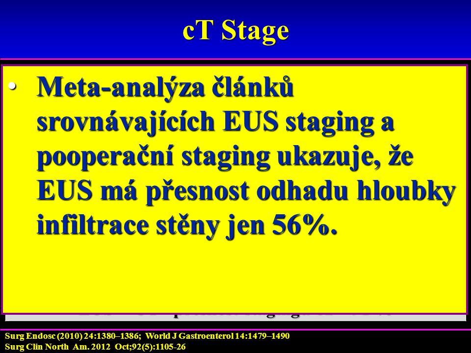 cT Stage T stadium lze nejlépe zhodnotíme pomocí endoskopického ultrazvuku.