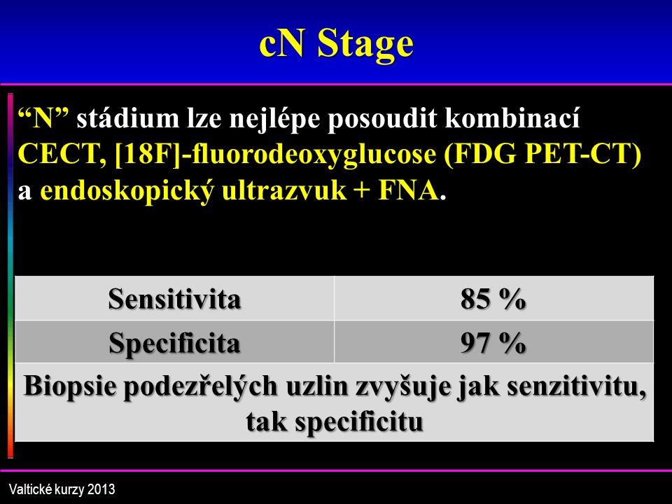 cN Stage N stádium lze nejlépe posoudit kombinací CECT, [18F]-fluorodeoxyglucose (FDG PET-CT) a endoskopický ultrazvuk + FNA.