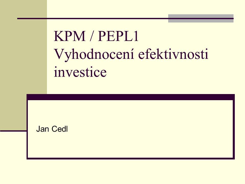 KPM / PEPL1 Vyhodnocení efektivnosti investice Jan Cedl