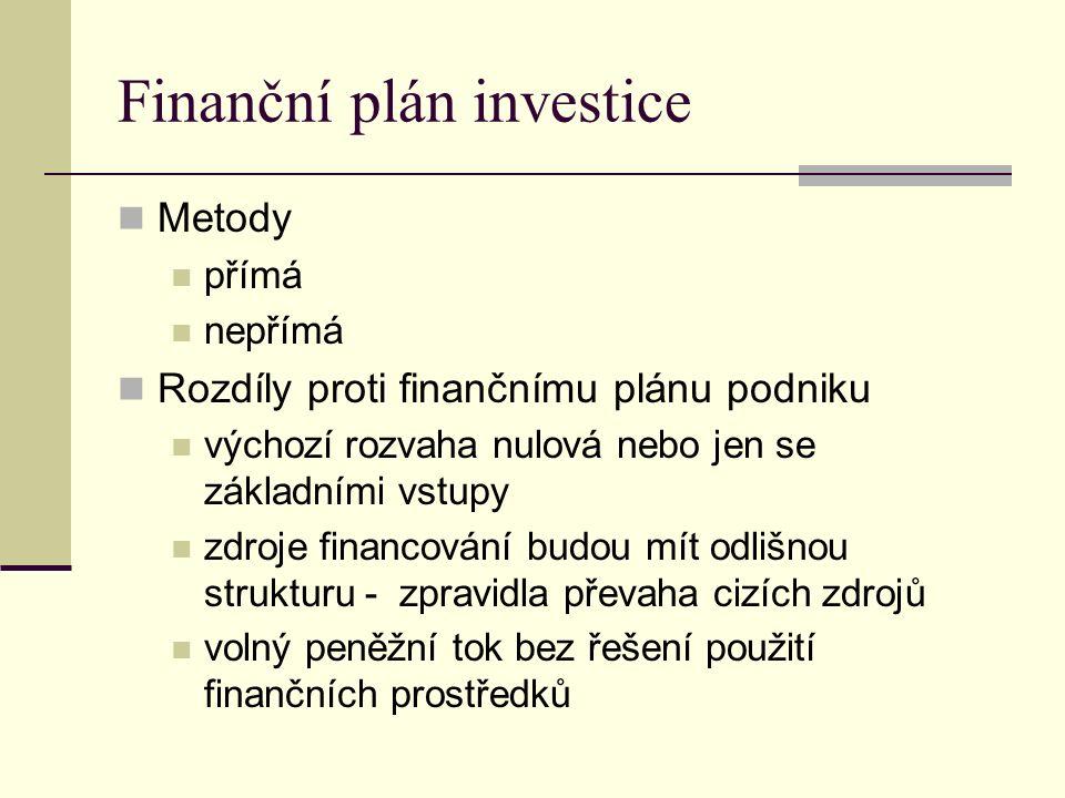 Finanční plán investice Metody přímá nepřímá Rozdíly proti finančnímu plánu podniku výchozí rozvaha nulová nebo jen se základními vstupy zdroje financování budou mít odlišnou strukturu - zpravidla převaha cizích zdrojů volný peněžní tok bez řešení použití finančních prostředků