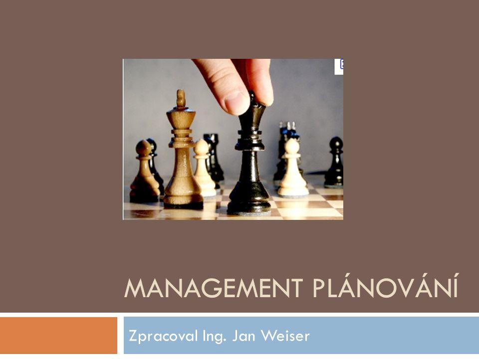 MANAGEMENT PLÁNOVÁNÍ Zpracoval Ing. Jan Weiser