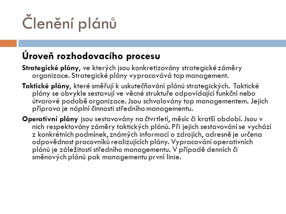 Členění plánů Úroveň rozhodovacího procesu Strategické plány, ve kterých jsou konkretizovány strategické záměry organizace.