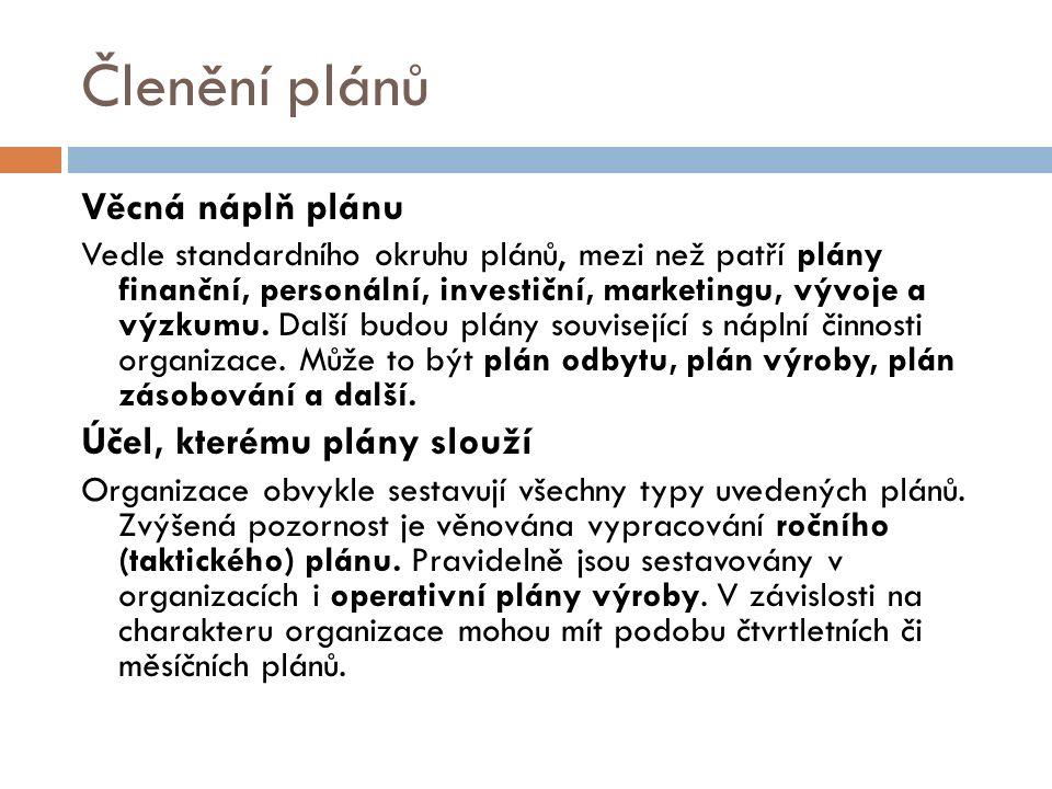 Členění plánů Věcná náplň plánu Vedle standardního okruhu plánů, mezi než patří plány finanční, personální, investiční, marketingu, vývoje a výzkumu.