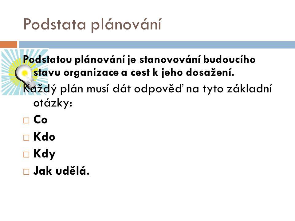 Podstata plánování Podstatou plánování je stanovování budoucího stavu organizace a cest k jeho dosažení.