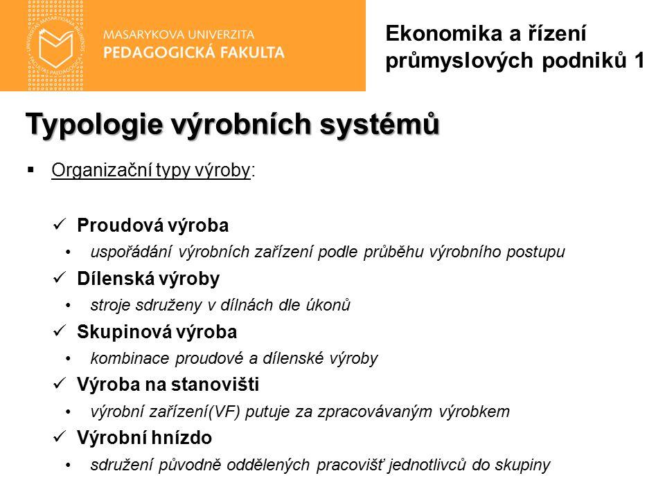 Typologie výrobních systémů  Organizační typy výroby: Proudová výroba uspořádání výrobních zařízení podle průběhu výrobního postupu Dílenská výroby s