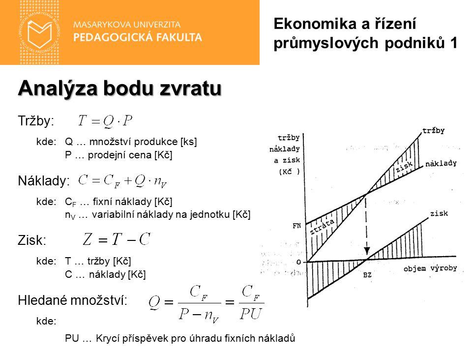 Analýza bodu zvratu Ekonomika a řízení průmyslových podniků 1 Tržby: kde:Q … množství produkce [ks] P … prodejní cena [Kč] Náklady: kde:C F … fixní ná