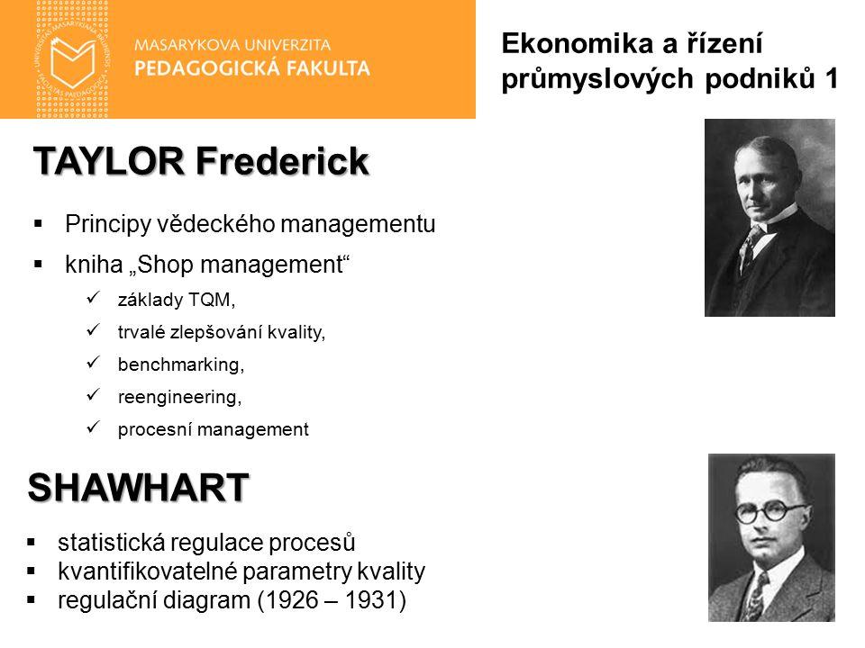 """TAYLOR Frederick  Principy vědeckého managementu  kniha """"Shop management základy TQM, trvalé zlepšování kvality, benchmarking, reengineering, procesní management Ekonomika a řízení průmyslových podniků 1SHAWHART  statistická regulace procesů  kvantifikovatelné parametry kvality  regulační diagram (1926 – 1931)"""