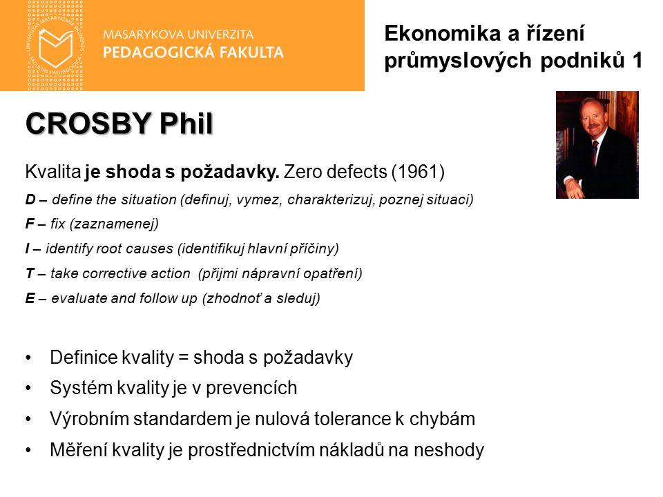CROSBY Phil Kvalita je shoda s požadavky. Zero defects (1961) D – define the situation (definuj, vymez, charakterizuj, poznej situaci) F – fix (zaznam