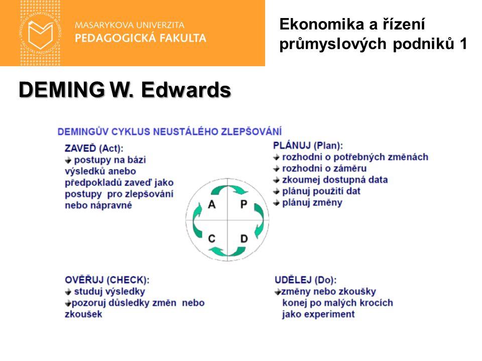 DEMING W. Edwards Ekonomika a řízení průmyslových podniků 1