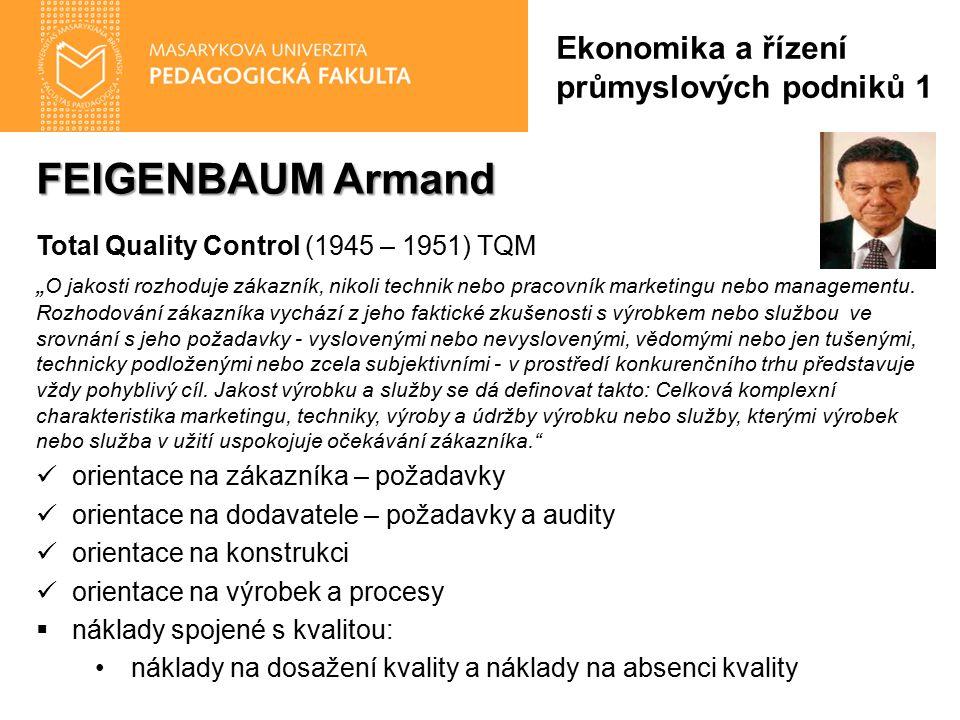 """FEIGENBAUM Armand Total Quality Control (1945 – 1951) TQM """" O jakosti rozhoduje zákazník, nikoli technik nebo pracovník marketingu nebo managementu."""