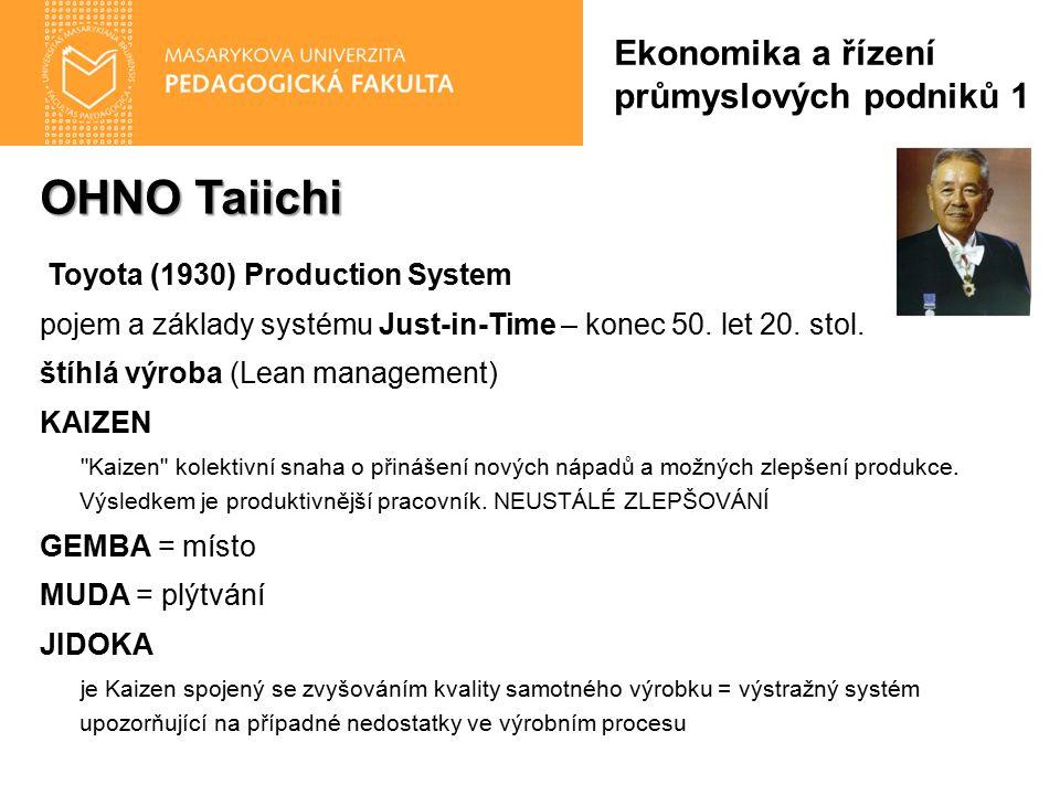 OHNO Taiichi Toyota (1930) Production System pojem a základy systému Just-in-Time – konec 50. let 20. stol. štíhlá výroba (Lean management) KAIZEN