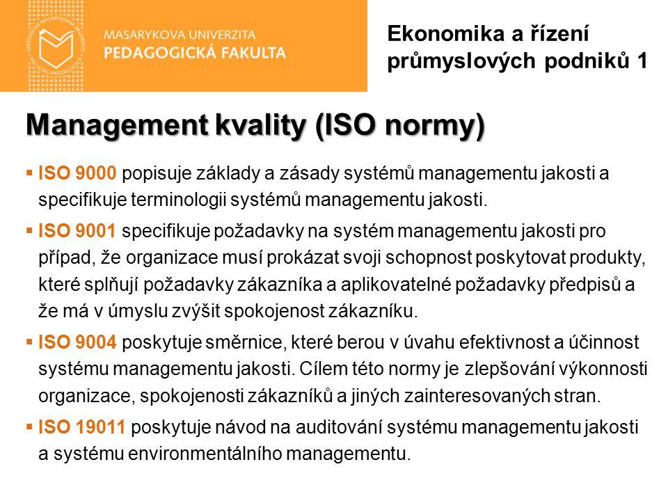 Management kvality (ISO normy)  ISO 9000 popisuje základy a zásady systémů managementu jakosti a specifikuje terminologii systémů managementu jakosti
