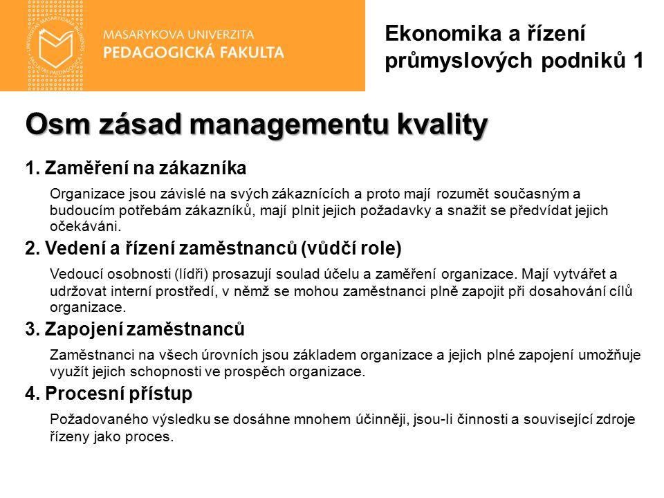 Osm zásad managementu kvality 1. Zaměření na zákazníka Organizace jsou závislé na svých zákaznících a proto mají rozumět současným a budoucím potřebám