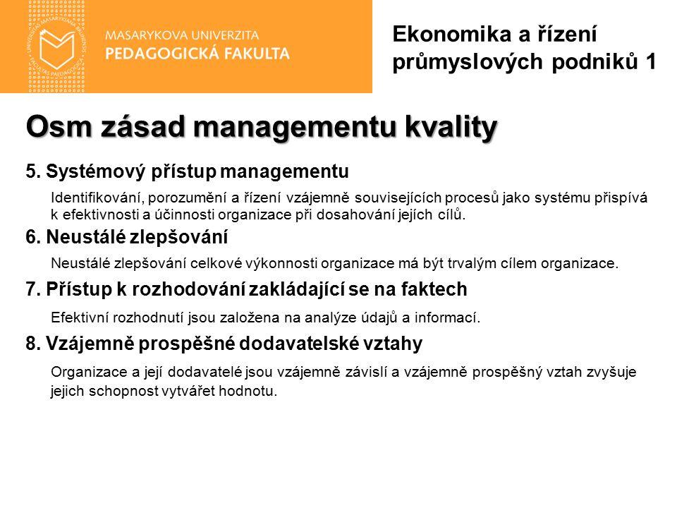 Osm zásad managementu kvality 5. Systémový přístup managementu Identifikování, porozumění a řízení vzájemně souvisejících procesů jako systému přispív