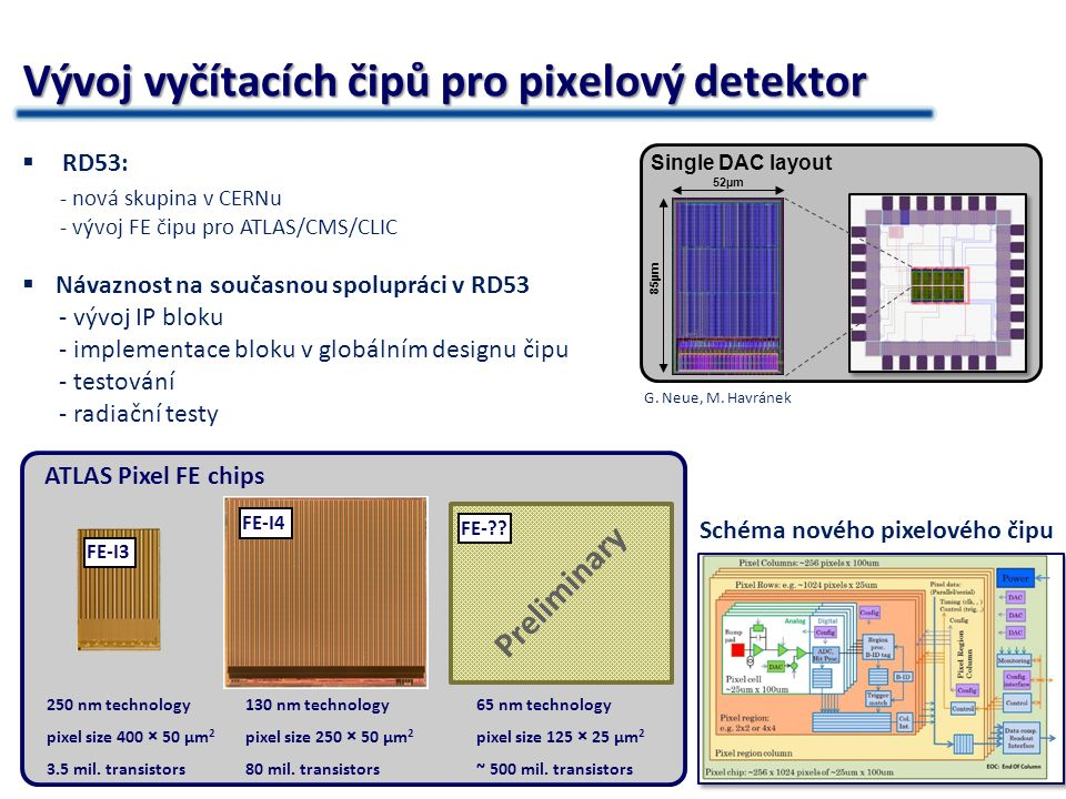 6 Vývoj MAPS čipu  MAPS Iniciativa (Bonn, CPPM a další)  Slibná technologie pro ATLAS upgrade - pixely - stripy  MAPS = Monolithic Active Pixel Sensor  Základní výzkum nových druhů senzorů  X-CHIP-02 – Demonstrátor čip - testování čipu - radiační testy, test-beamy… - návrh dalších čipů pro ATLAS - spolupráce s Bonnem Hybrid pixel detektorMAPS detektor  Tři technologie  Problematické bondování  Technologická vyspělost  Radiační odolnost  Používá se v mnoha experimentech  Jedna technologie  Jeden čip  Netřeba bump-bonding  Zatím ve vývoji  Neznámá radiační odolnost EPCB02 – spolupráce s University of Bonn X-CHIP-02 navržený na FZÚ AVČR