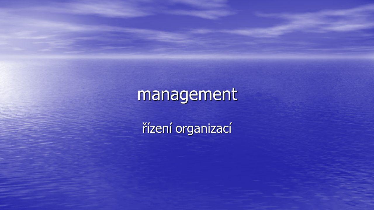 management řízení organizací
