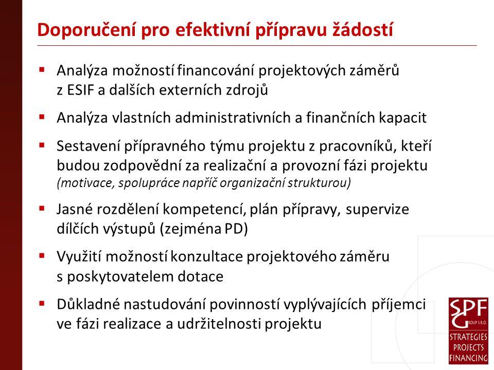 Doporučení pro efektivní přípravu žádostí  Analýza možností financování projektových záměrů z ESIF a dalších externích zdrojů  Analýza vlastních administrativních a finančních kapacit  Sestavení přípravného týmu projektu z pracovníků, kteří budou zodpovědní za realizační a provozní fázi projektu (motivace, spolupráce napříč organizační strukturou)  Jasné rozdělení kompetencí, plán přípravy, supervize dílčích výstupů (zejména PD)  Využití možností konzultace projektového záměru s poskytovatelem dotace  Důkladné nastudování povinností vyplývajících příjemci ve fázi realizace a udržitelnosti projektu