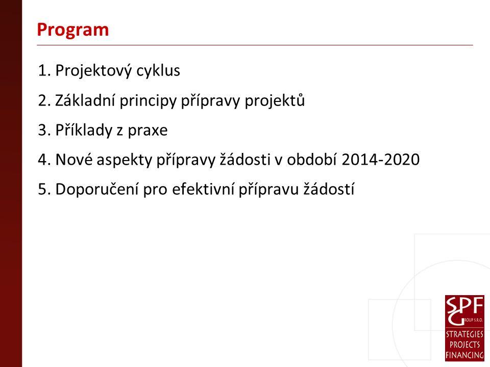 Program 1. Projektový cyklus 2. Základní principy přípravy projektů 3.