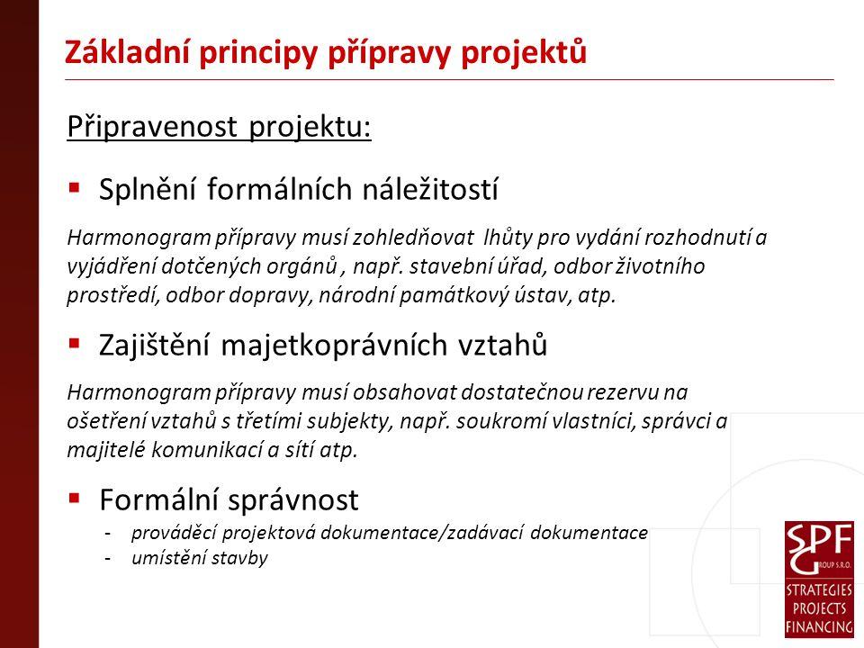 Základní principy přípravy projektů Připravenost projektu:  Splnění formálních náležitostí Harmonogram přípravy musí zohledňovat lhůty pro vydání rozhodnutí a vyjádření dotčených orgánů, např.
