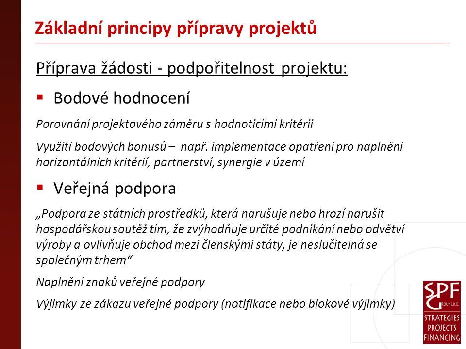 Základní principy přípravy projektů Příprava žádosti - podpořitelnost projektu:  Bodové hodnocení Porovnání projektového záměru s hodnoticími kritérii Využití bodových bonusů – např.