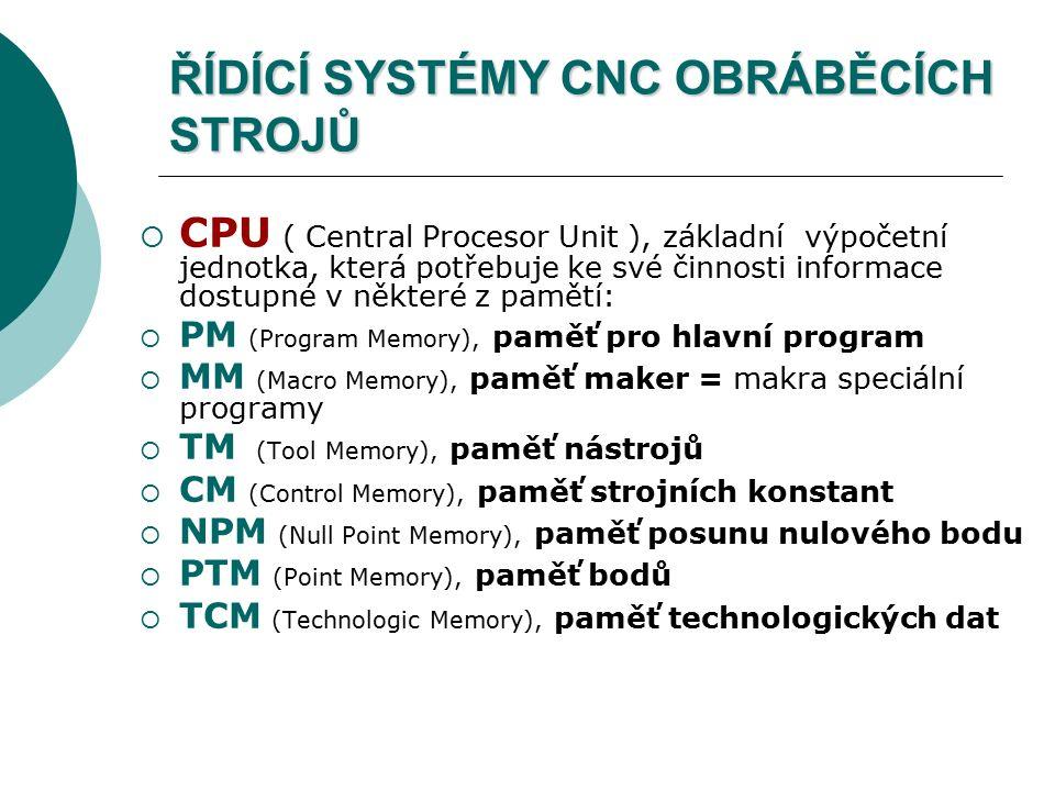 ŘÍDÍCÍ SYSTÉMY CNC OBRÁBĚCÍCH STROJŮ  CPU ( Central Procesor Unit ), základní výpočetní jednotka, která potřebuje ke své činnosti informace dostupné v některé z pamětí:  PM (Program Memory), paměť pro hlavní program  MM (Macro Memory), paměť maker = makra speciální programy  TM (Tool Memory), paměť nástrojů  CM (Control Memory), paměť strojních konstant  NPM (Null Point Memory), paměť posunu nulového bodu  PTM (Point Memory), paměť bodů  TCM (Technologic Memory), paměť technologických dat