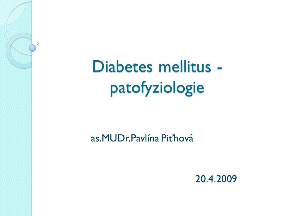 Diabetes mellitus - patofyziologie as.MUDr.Pavlína Piťhová 20.4.2009