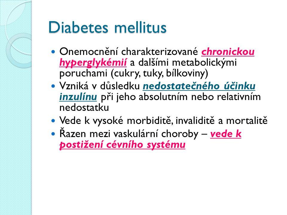 Diabetes mellitus Onemocnění charakterizované chronickou hyperglykémií a dalšími metabolickými poruchami (cukry, tuky, bílkoviny) Vzniká v důsledku nedostatečného účinku inzulínu při jeho absolutním nebo relativním nedostatku Vede k vysoké morbiditě, invaliditě a mortalitě Řazen mezi vaskulární choroby – vede k postižení cévního systému