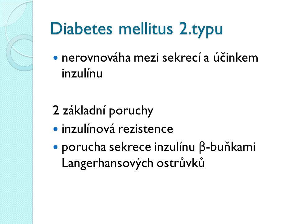 Diabetes mellitus 2.typu nerovnováha mezi sekrecí a účinkem inzulínu 2 základní poruchy inzulínová rezistence porucha sekrece inzulínu β -buňkami Langerhansových ostrůvků