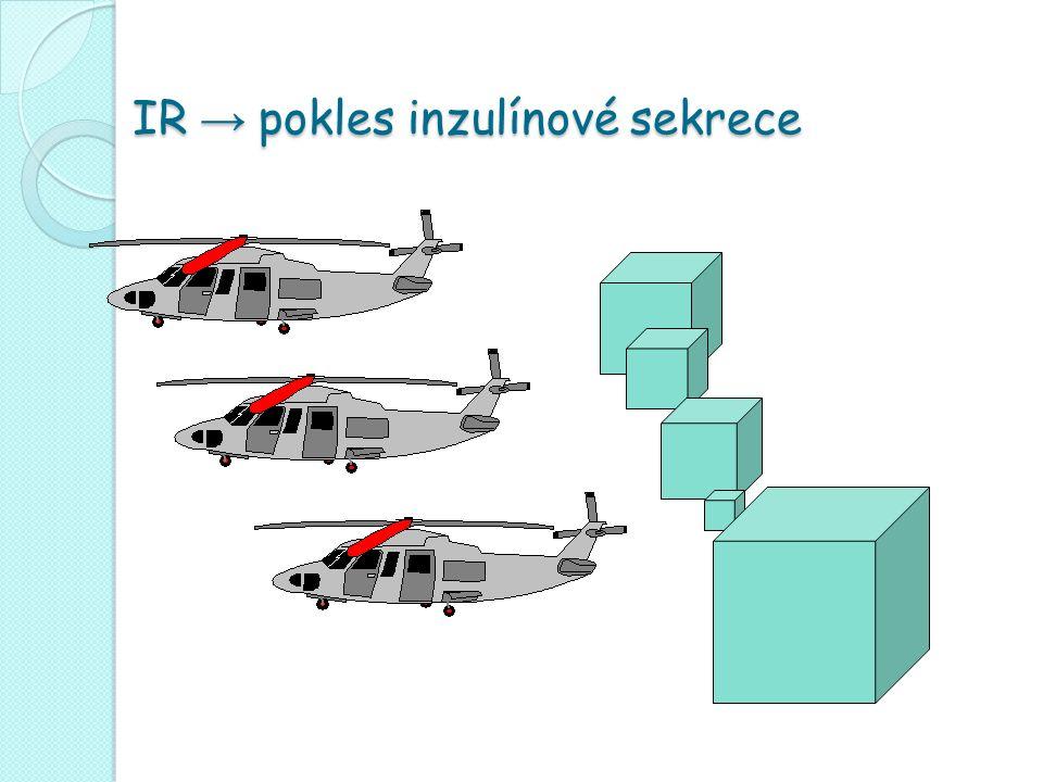 IR → pokles inzulínové sekrece