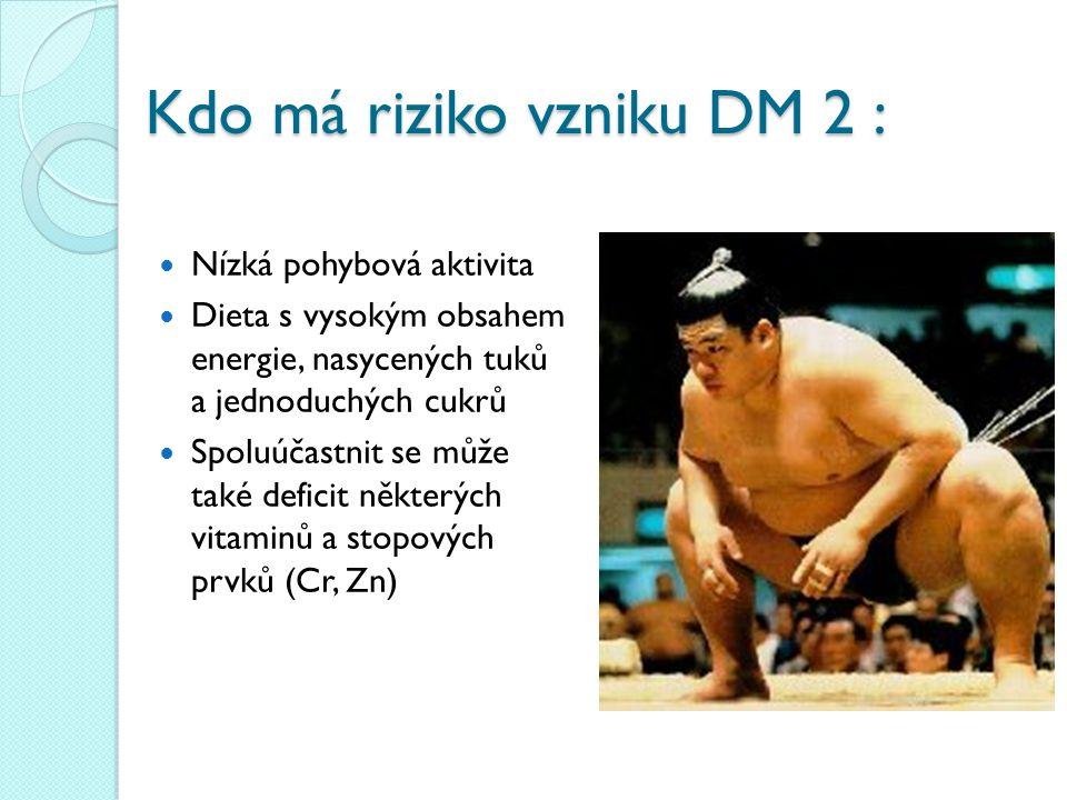 Kdo má riziko vzniku DM 2 : Nízká pohybová aktivita Dieta s vysokým obsahem energie, nasycených tuků a jednoduchých cukrů Spoluúčastnit se může také d
