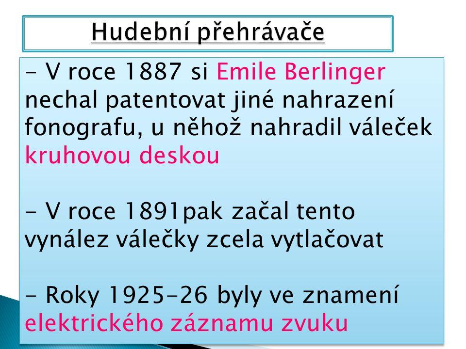 - V roce 1887 si Emile Berlinger nechal patentovat jiné nahrazení fonografu, u něhož nahradil váleček kruhovou deskou - V roce 1891pak začal tento vynález válečky zcela vytlačovat - Roky 1925-26 byly ve znamení elektrického záznamu zvuku - V roce 1887 si Emile Berlinger nechal patentovat jiné nahrazení fonografu, u něhož nahradil váleček kruhovou deskou - V roce 1891pak začal tento vynález válečky zcela vytlačovat - Roky 1925-26 byly ve znamení elektrického záznamu zvuku