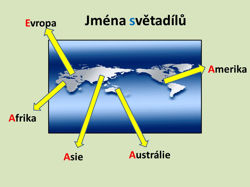 Jména světadílů Afrika Evropa Asie Amerika Austrálie