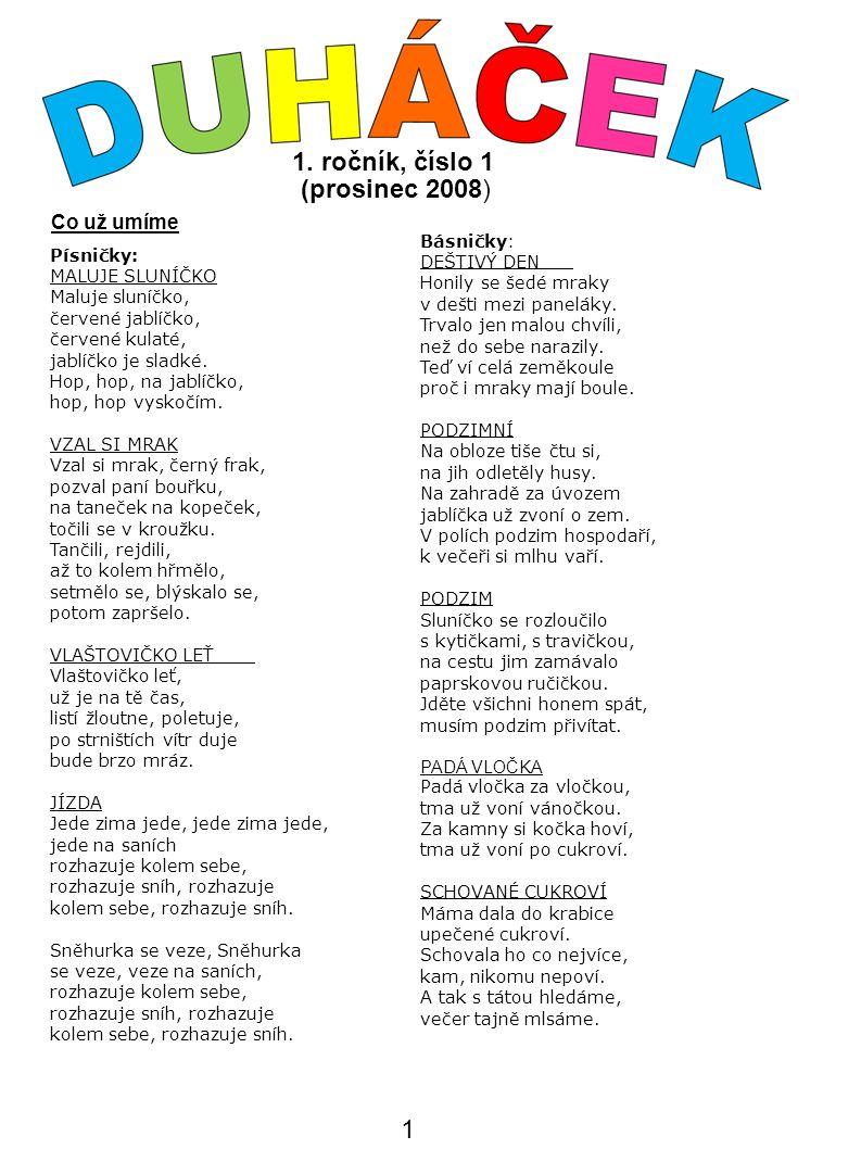 1. ročník, číslo 1 (prosinec 2008) Písničky: MALUJE SLUNÍČKO Maluje sluníčko, červené jablíčko, červené kulaté, jablíčko je sladké. Hop, hop, na jabl
