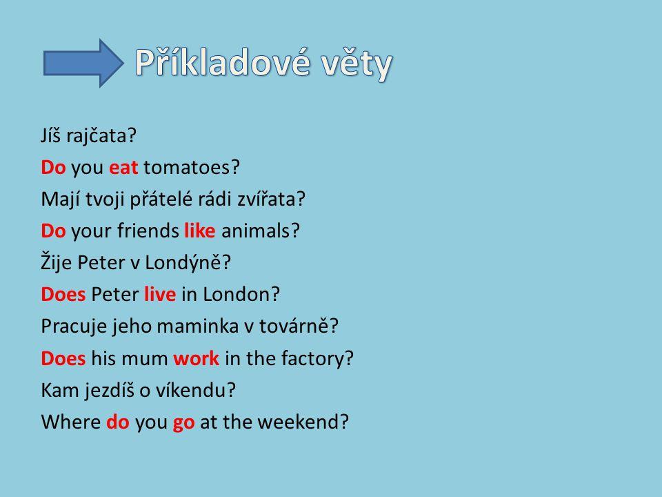 Jíš rajčata. Do you eat tomatoes. Mají tvoji přátelé rádi zvířata.