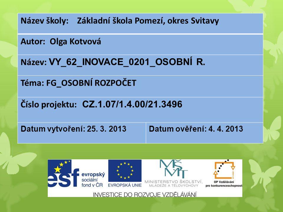 Název školy: Základní škola Pomezí, okres Svitavy Autor: Olga Kotvová Název: VY_62_INOVACE_0201_OSOBNÍ R.