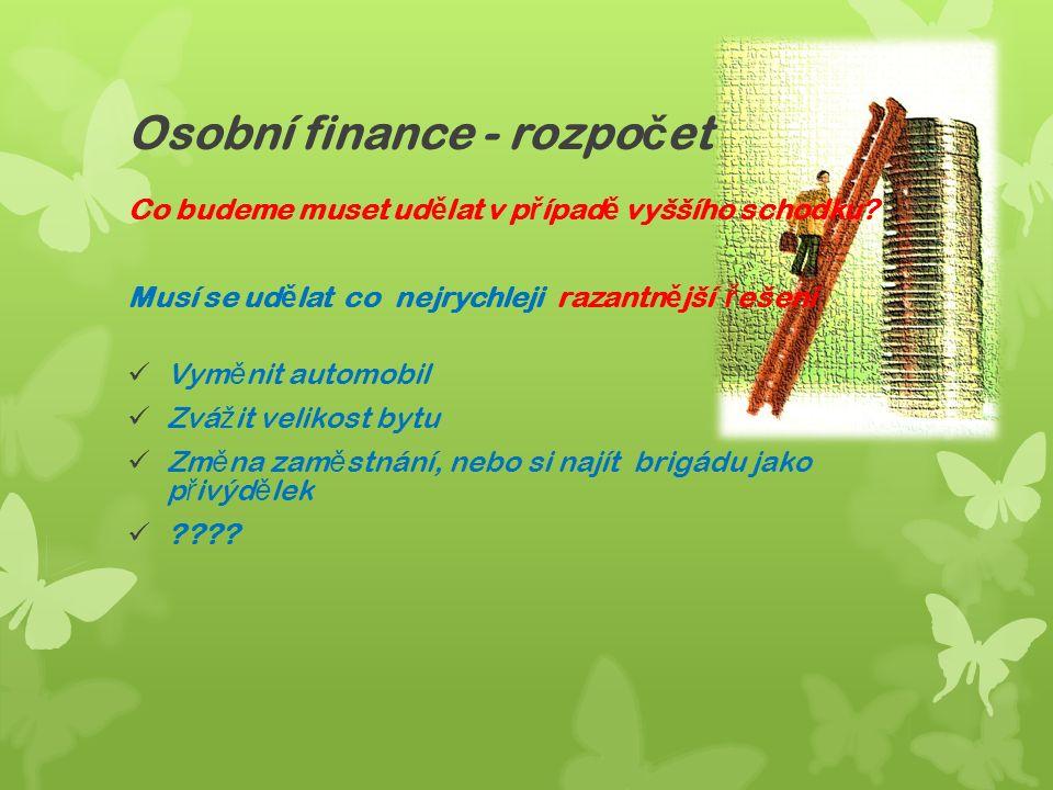 Osobní finance - rozpo č et Co budeme muset ud ě lat v p ř ípad ě vyššího schodku.