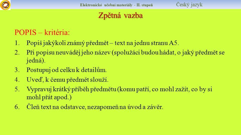 Zpětná vazba Elektronické učební materiály - II.
